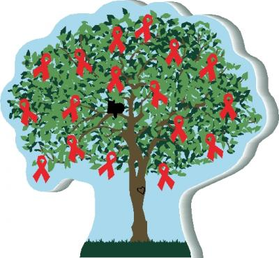 Cat's Meow Red Awareness Ribbon Tree for Heart Disease. Handcrafted and made in the USA.