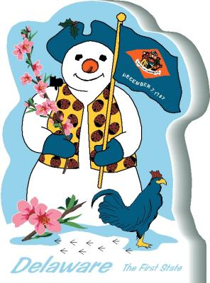 Delaware State Snowman handcrafted and made in the USA.
