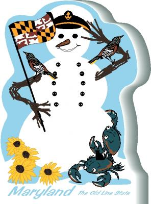 Maryland State Snowman handcrafted and made in the USA.