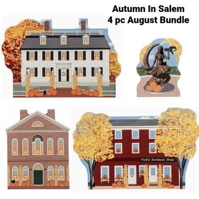 """Buy all 4 August Autumn In Salem designs with one click. Handcrafted in 3/4"""" thick wood by The Cat's Meow Village."""