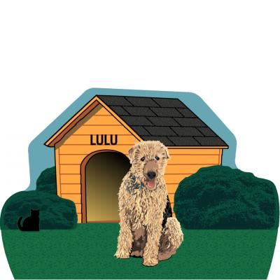 "Dog House, Airedale, PURRsonalize Me! Handcrafted in the USA 3/4"" thick wood by Cat's Meow Village."