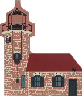 """Vintage Sand Island Lighthouse from Waterfront Series handcrafted from 3/4"""" thick wood by The Cat's Meow Village in the USA"""