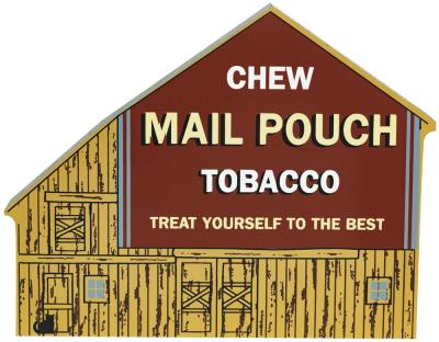 """Vintage Chew Mail Pouch Tobacco Barn from America's Back Roads Series I handcrafted from 3/4"""" thick wood by The Cat's Meow Village in the USA"""
