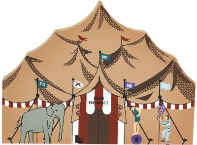 "Vintage Big Top from Circus Series handcrafted from 3/4"" thick wood by The Cat's Meow Village in the USA"