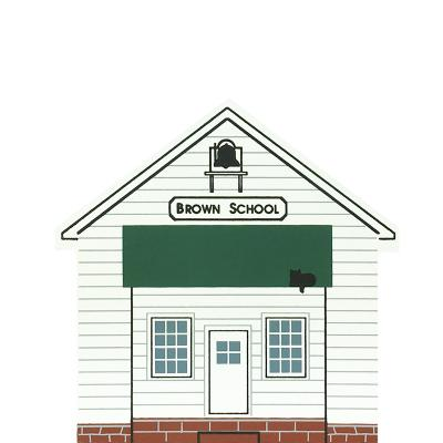"""Vintage Brown School from Ohio Amish Series handcrafted from 3/4"""" thick wood by The Cat's Meow Village in the USA"""