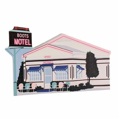 Wooden replica of Boots Motel along Route 66 in Carthage, Missouri. Handcrafted in the USA by The Cat's Meow Village.