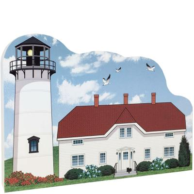 "Replica of Chatham Lighthouse on Cape Cod, Massachusetts handcrafted in 3/4"" thick wood by The Cat's Meow Village in the USA."