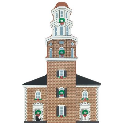 """Vintage Christ Church from Old Alexandria Christmas Series handcrafted from 3/4"""" thick wood by The Cat's Meow Village in the USA"""