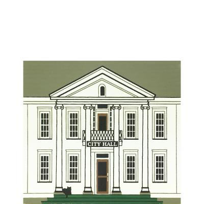"""Vintage City Hall from Series IX handcrafted from 3/4"""" thick wood by The Cat's Meow Village in the USA"""