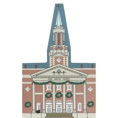 "Vintage First Baptist Church from Atlanta Christmas Series handcrafted from 3/4"" thick wood by The Cat's Meow Village in the USA"