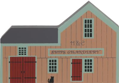 "Vintage H&E Ships Chandlery from Nautical Series handcrafted from 3/4"" thick wood by The Cat's Meow Village in the USA"