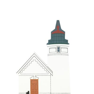 """Vintage Heceta Head Light from West Coast Lighthouse Series handcrafted from 3/4"""" thick wood by The Cat's Meow Village in the USA"""
