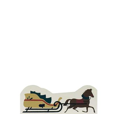"""Vintage Horse & Sleigh from Accessories handcrafted from 1/2"""" thick wood by The Cat's Meow Village in the USA"""