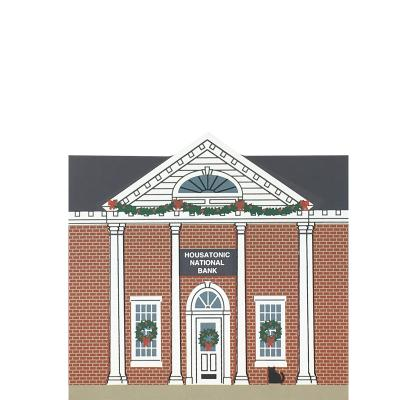 "Vintage Housatonic National Bank from Stockbridge Christmas Series handcrafted from 3/4"" thick wood by The Cat's Meow Village in the USA"