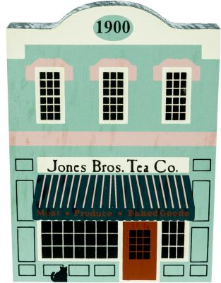 """Vintage Jones Bros. Tea Co. from Series IV handcrafted from 3/4"""" thick wood by The Cat's Meow Village in the USA"""
