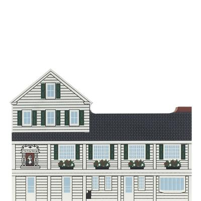 "Vintage King George Inn from Mid-Atlantic Tavern Series handcrafted from 3/4"" thick wood by The Cat's Meow Village in the USA"