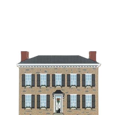 """Vintage Kingston House from Hudson River Valley Christmas Series handcrafted from 3/4"""" thick wood by The Cat's Meow Village in the USA"""
