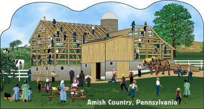 Cat's Meow Amish Barn Raising Scene Pennsylvania, Amish Life Collection