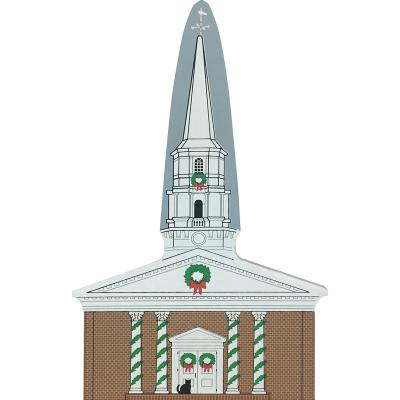 "Vintage Martha-Mary Chapel from Greenfield Village Christmas Series handcrafted from 3/4"" thick wood by The Cat's Meow Village in the USA"