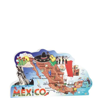 "Map of Mexico, Mexico Map handcrafted in 3/4"" thick wood by The Cat's Meow Village as a memory of your trip to Mexico. Made in the USA."