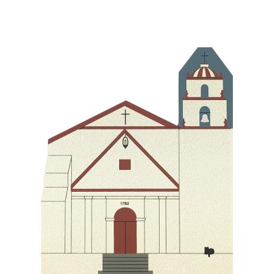 """Vintage Mission San Buenaventura from California Mission Series handcrafted from 3/4"""" thick wood by The Cat's Meow Village in the USA"""