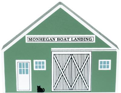 "Vintage Mohegan Boat Landing from Nautical Series handcrafted from 3/4"" thick wood by The Cat's Meow Village in the USA"