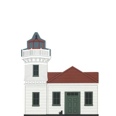 "Vintage Mukilteo Lighthouse from West Coast Lighthouse Series handcrafted from 3/4"" thick wood by The Cat's Meow Village in the USA"