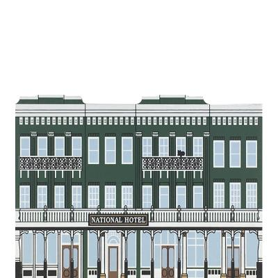 "Vintage National Hotel from California Gold Rush Series handcrafted from 3/4"" thick wood by The Cat's Meow Village in the USA"