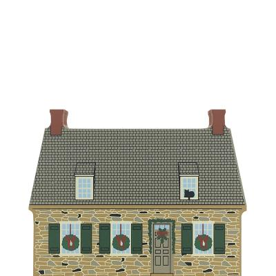 "Vintage New Paltz House from Hudson River Valley Christmas Series handcrafted from 3/4"" thick wood by The Cat's Meow Village in the USA"