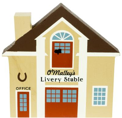 """Vintage O'Malley Livery Stable from Series IV handcrafted from 3/4"""" thick wood by The Cat's Meow Village in the USA"""