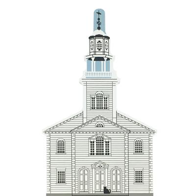 """Vintage Old Bennington Congregational Church from New England Church Series handcrafted from 3/4"""" thick wood by The Cat's Meow Village in the USA"""