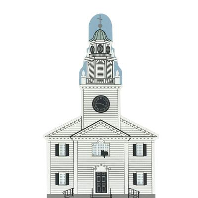 "Vintage Old Church On The Hill from New England Church Series handcrafted from 3/4"" thick wood by The Cat's Meow Village in the USA"