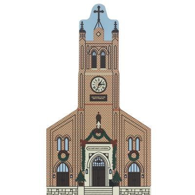 "Vintage Old Saint Mary's Cathedral from San Francisco Christmas Series handcrafted from 3/4"" thick wood by The Cat's Meow Village in the USA"