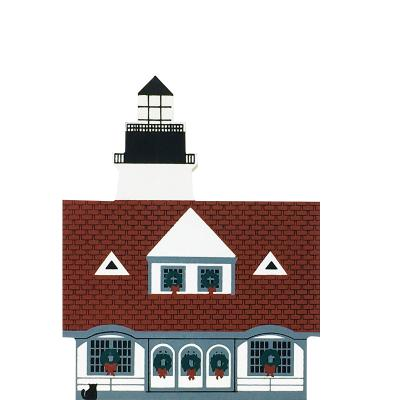"Vintage Portland Head Lighthouse from Maine Christmas Series handcrafted from 3/4"" thick wood by The Cat's Meow Village in the USA"