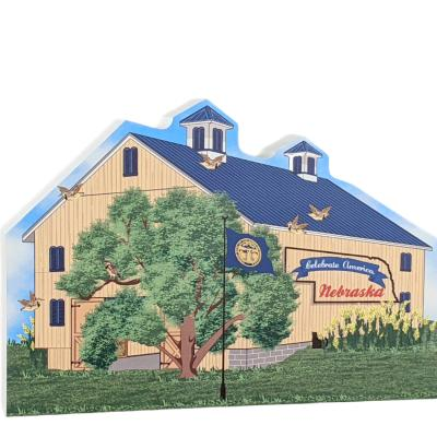 """State Barn, Nebraska. Handcrafted in the USA 3/4"""" thick wood by Cat's Meow Village"""