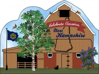 New Hampshire State Barn including the state flag and other state facts. The Granite State.