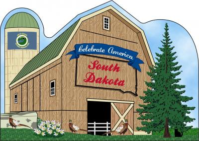 South Dakota State Barn including the state flag and other state facts. The Mount Rushmore State.