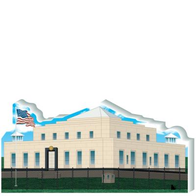 """Replica of Fort Knox US Bullion Depository located at Fort Knox, Kentucky. Handcrafted of 3/4"""" thick wood by The Cat's Meow Village in the good ole USA."""