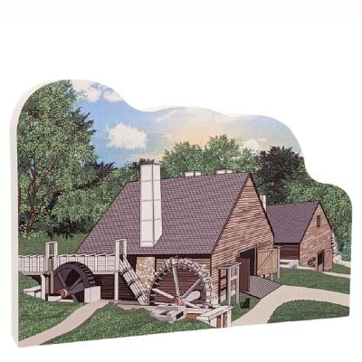"""Saugus Iron Works Mill, National Historic Site, Saugus, Massachusetts. Handcrafted in the USA 3/4"""" thick wood by Cat's Meow Village."""