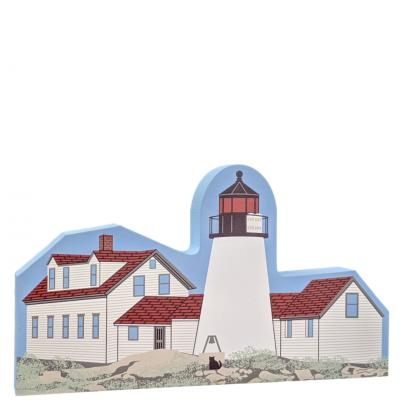 "Lovely replica of the Burnt Island Lighthouse, Boothbay Harbor, ME.  Handcrafted in 3/4"" thick wood by The Cat's Meow Village in the USA."