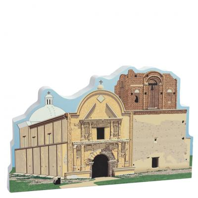 "Lovely Detailed Front of Mission San José de Tumacácori,  St Joseph of the Rocky Flat Place,  AZ. Handcrafted in 3/4"" thick wood by The Cat's Meow Village in the USA"