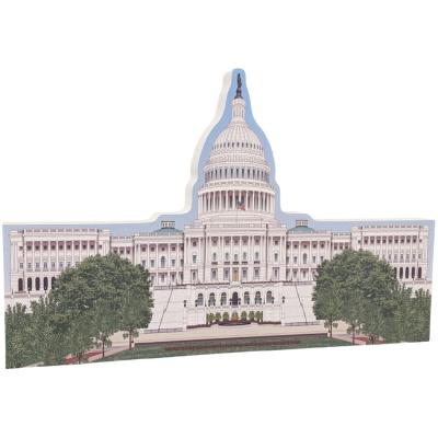 """Beautifully colorful and detailed replica of the U.S. Capital East, Washington, DC.  Handcrafted in 3/4"""" thick wood by The Cat's Meow Village in the USA."""