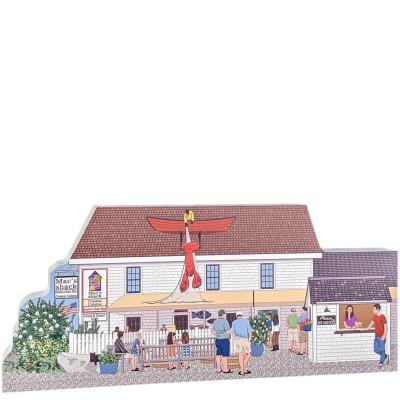 """Wonderfully detailed front of Mac's Shack with the lobster man on the roof, Wellfleet, Cape Cod, MA. Handcrafted in the USA 3/4"""" thick wood by Cat's Meow Village."""