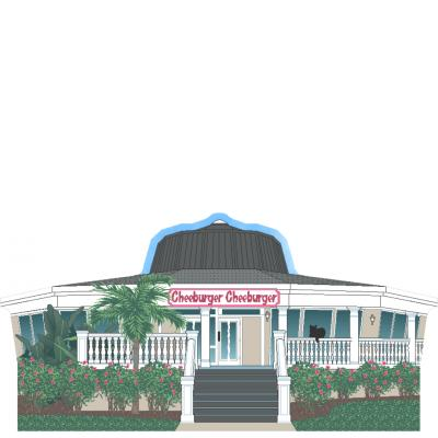 "Nicely detailed replica of Cheeburger, Cheeburger, Sanibel Island, Florida. Handcrafted in the USA 3/4"" thick wood by Cat's Meow Village."