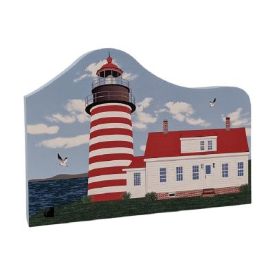 """Colorful and detailed replica of West Quoddy Lighthouse, Lubec, Maine. Handcrafted in the USA 3/4"""" thick wood by Cat's Meow Village."""