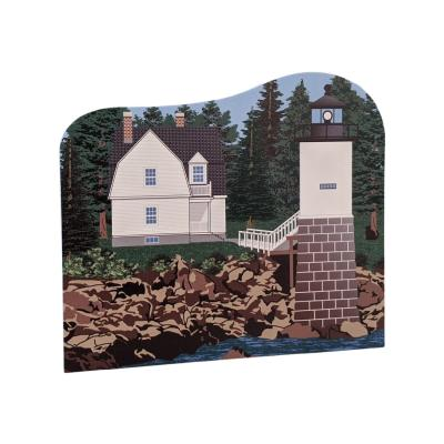 """Detailed replica of Isle Au Haut Lighthouse, Isle Au Haut, Maine. Handcrafted in the USA 3/4"""" thick wood by Cat's Meow Village."""