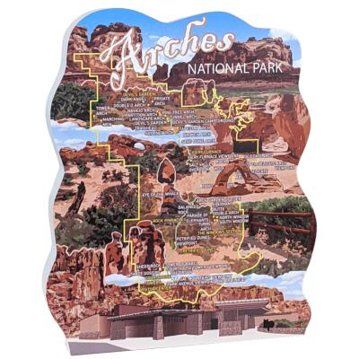 You'll love this wooden map of Arches National Park to set on your desk or bookshelf to remind you of the grandeur of this park. Handcrafted by The Cat's Meow Village in the USA.