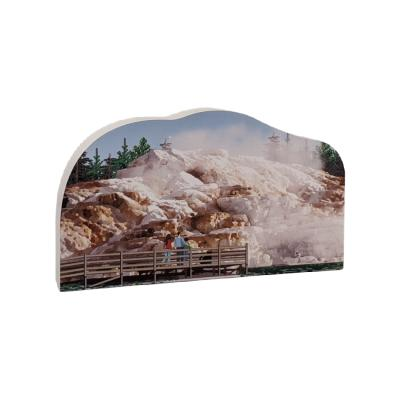 """Replica of Mammoth Hot Springs in Yellowstone National Park. Handcrafted in 3/4"""" thick wood to set on a shelf, desk or windowsill to remind you of that special trip. Handcrafted in the USA by The Cat's Meow Village."""
