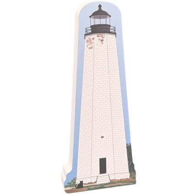 "New Haven Lighthouse, New Haven, Connecticut. Handcrafted in the USA 3/4"" thick wood by Cat's Meow Village."