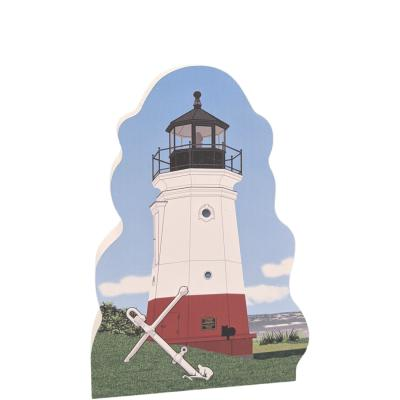 """Beautifully detailed replica of the Vermilion Lighthouse, Vermilion, Ohio.  Handcrafted in the USA 3/4"""" thick wood by Cat's Meow Village."""